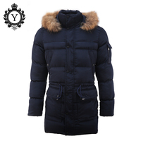 COUTUDI New Fashion Down Coat Winter Jacket Men Fur Hooded Dark Blue Warm Men Jackets Front