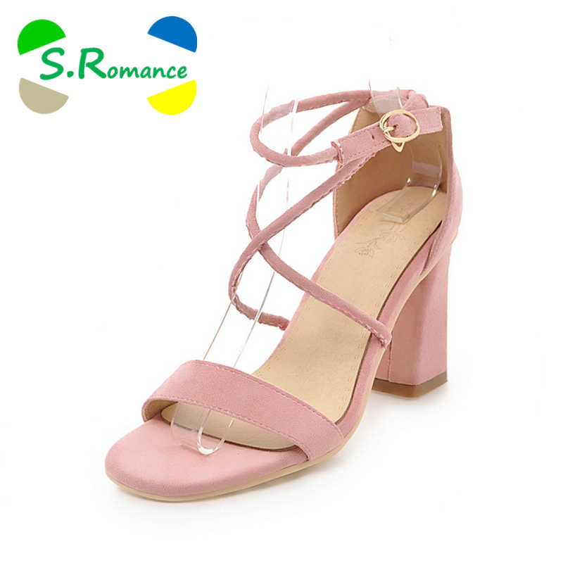 S.Romance Women Sandals Plus Size 34-43 Fashion Summer Buckle Strap High  Heel 8824a5e5be18
