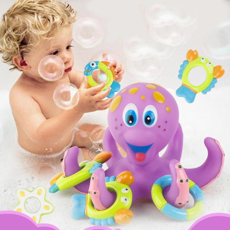 Baby Bath Toy Kids Tub Octopus Bath Play Set Infant Shower Soft Cartoon Water Flow Spraying Tool Baby Bathroom Grasping Toy Gift