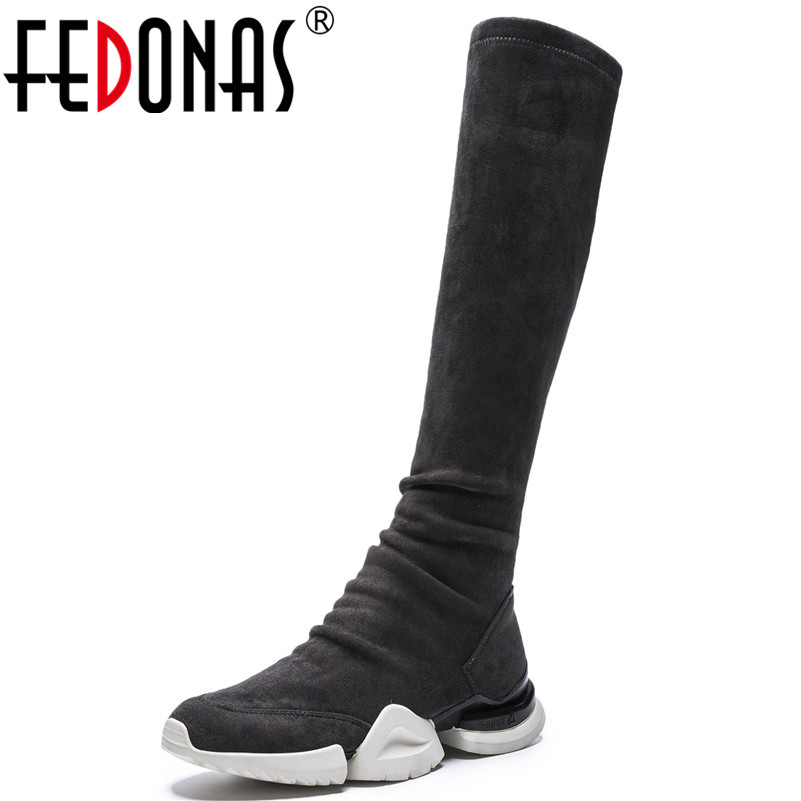 FEDONAS Brand Women Knee High Boots Wedges Heels Long Autumn Winter Shoes Woman Round Toe Platforms Casual Shoes High Boots