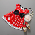 2015 kids clothes red bow dress dot dress baby girls vestidos infantis lace party dress