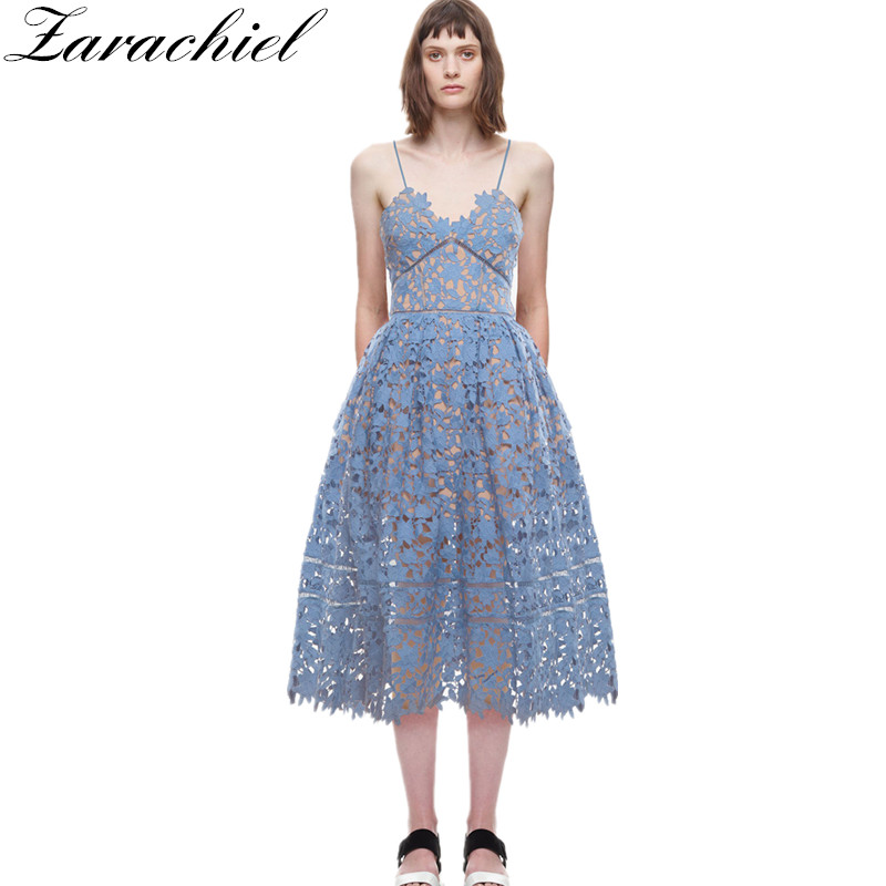 680c571be1a41 Zarachiel Self-Portrait Women Sexy Deep V Neck Strap Backless Lace Dress  Fit And Flare Hollow Out Crochet Flower Long Dress