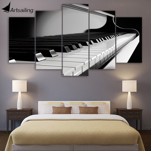 Hd Printed 5 Piece Canvas Art Piano Keys Painting Music Instrument Wall Pictures Living Room Modern Cu-1637c