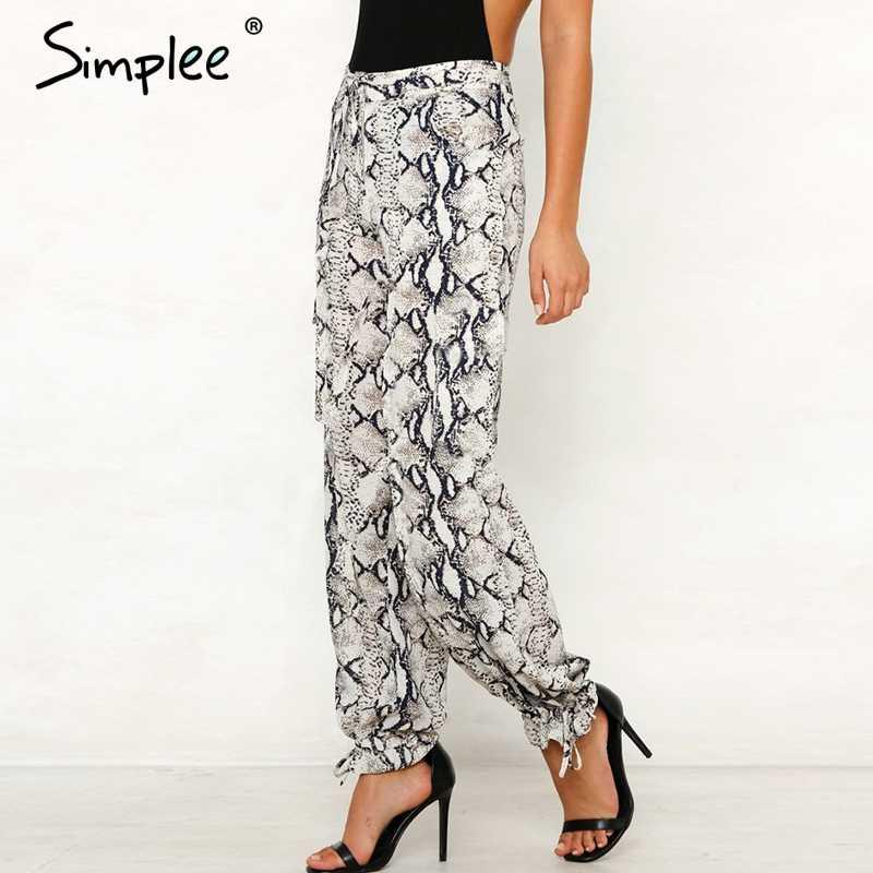 Женские штаны Simlee с животным принтом, привлекательные повседневные брюки с широкими штанинами, высокой талией и поясом для весны и лета, длинные капри, 2019