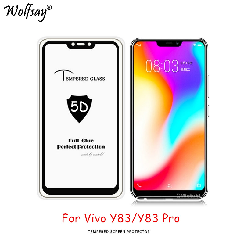 Wolfsay Full Glue Tempered Glass Vivo Y83 Screen Protector Vivo Y83 Pro Glass 9H Premium Cover For Vivo Y83A Y83 Pro Glass 6.22