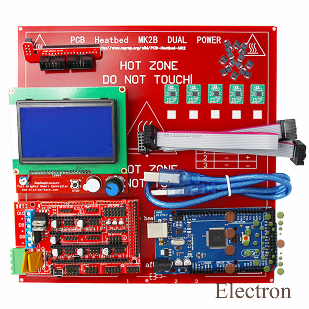 Control Board+LCD 12864 Display Controller Module+Ramps 1.4 Mega Shield+A4988 Stepstick Stepper Motor Driver with Heat Sink new plc programmable logic controller module pwm stepper motor driver relay board sm536 sd