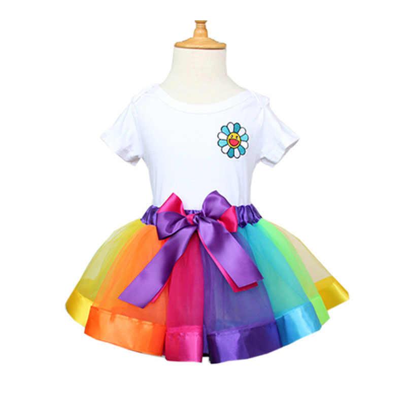 Arco Iris malla faldas de tutú de bebé para niñas conjuntos infantiles princesa falda tutú para fiesta Mini faldas de baile ropa personalizada para niños