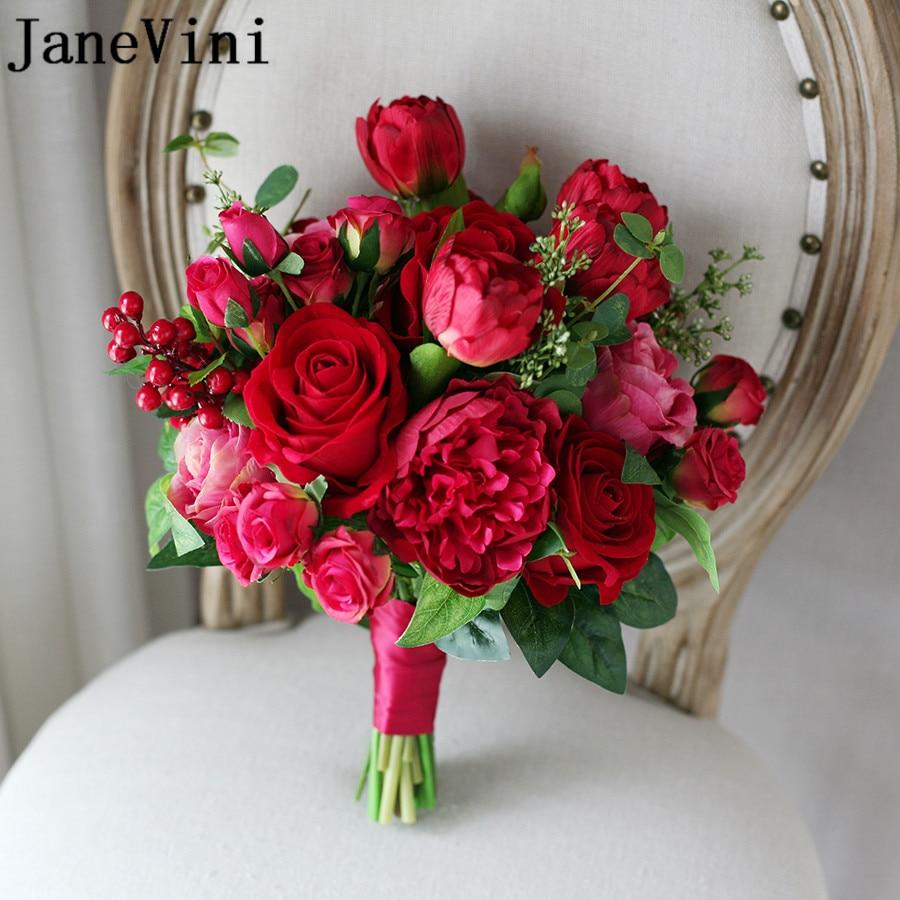 Aliexpress.com : Buy JaneVini Red Wedding Bridal Flowers