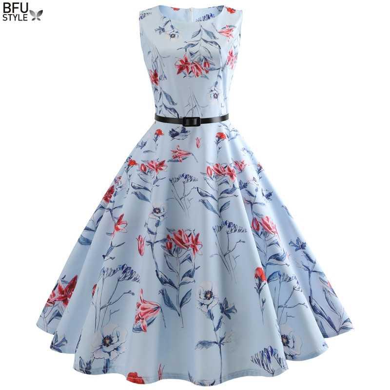 7ad77a7418d770 Floral Print Women Summer Dress Hepburn 50s 60s Retro Swing Vintage Dress  A-Line Party