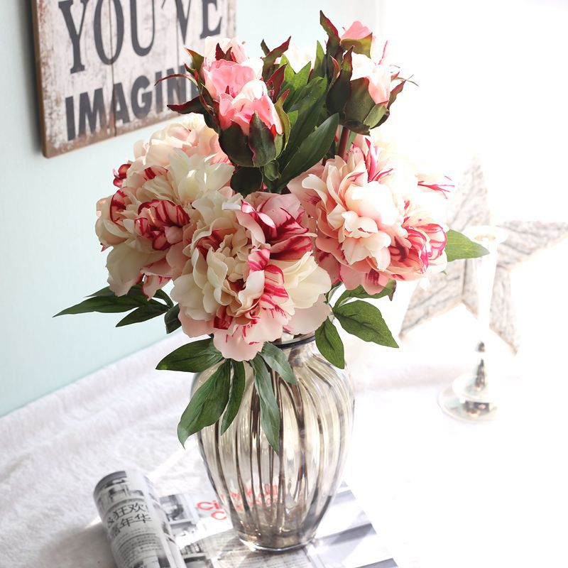 1 UNID Flores de Peonía Flores De Seda Artificial Verdadero Toque humectante Flo