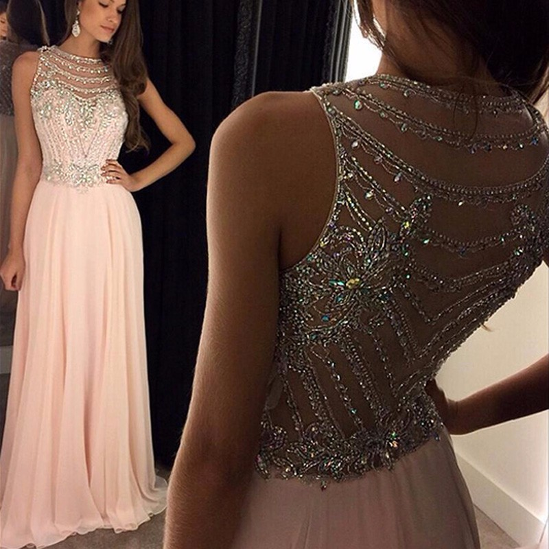 Elegant Chiffon Two Pieces A-Line Evening Dresses 2019 Beaded Prom Dresses O-Neck Sweep Train Sleeveless Prom Gown Evening Party