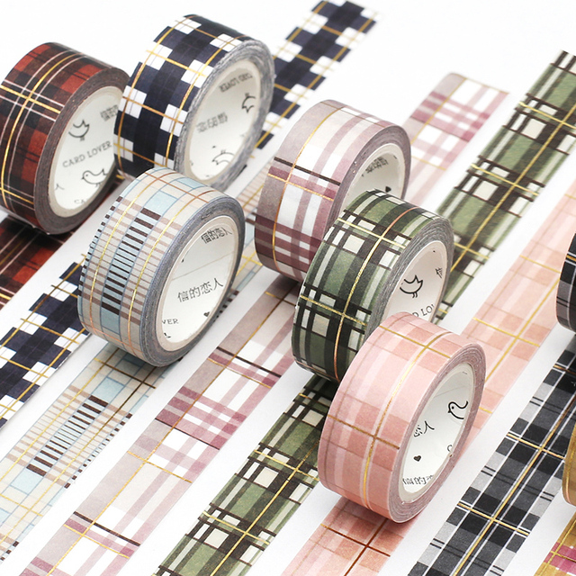 Cinta de Washi de color de rejilla escocesa Diy decoración Scrapbooking planificador cinta adhesiva etiqueta adhesiva