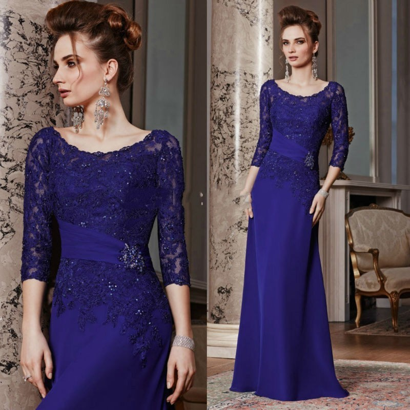 New Arrival 3 4 Sleeves Mother Of The Bride Dress Women Long Chiffon Appliques Crystal Evening