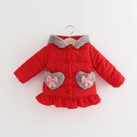 Baby Girs Jacket 2017 New Fashion Kids Winter Warm Cotton Hoodies Infant Snow Coat Children Casual