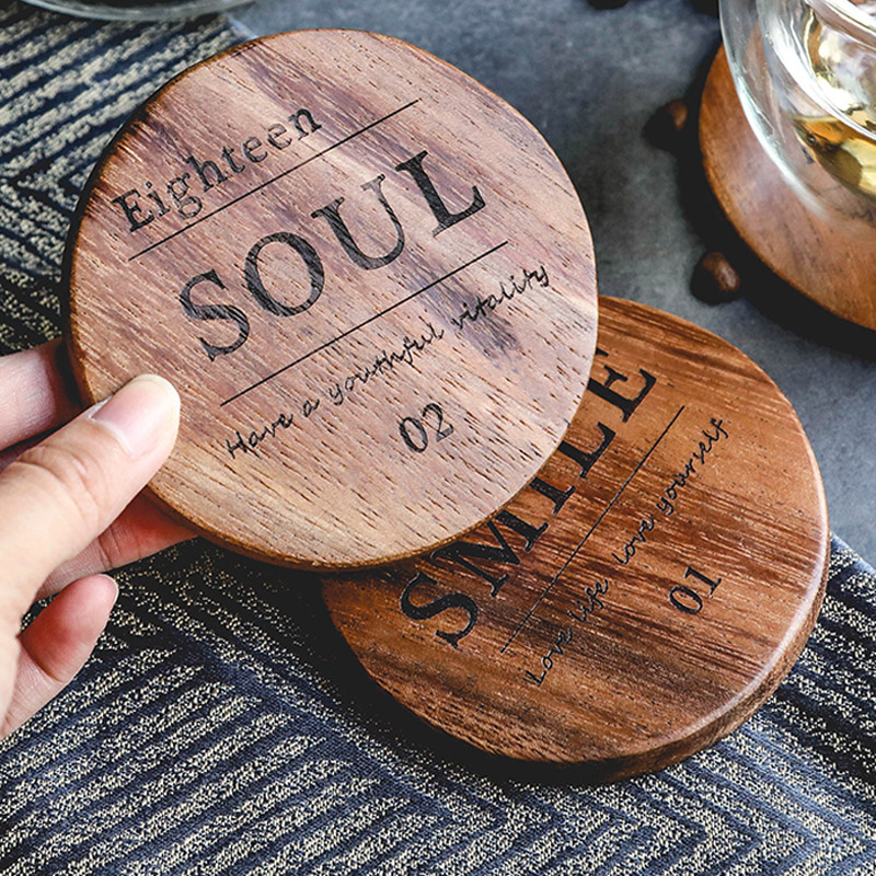 Mug Coaster Round Square Wood Cup Coaster Table Mat Kitchen Placemat Cup Pad Glass Teapot Drink Coasters Table Accessories (6)
