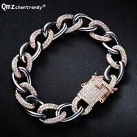 New items Men Bling Iced Out Thick Heavy Curb Cuban Chain Bracelets Copper Rhinestone Clasp Gold Chain Link CZ Bracelet