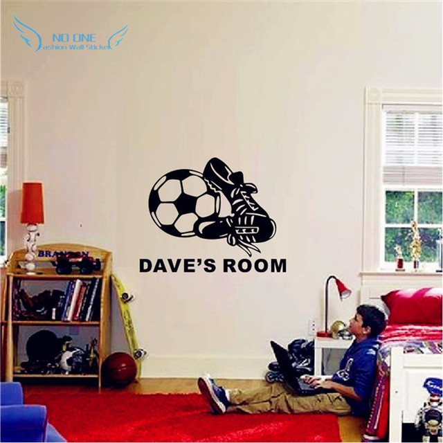 Personalized Naming Vinyl Wall Stickers Football And Sneakers ...