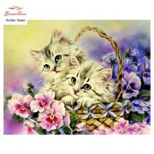Фотография DIY 5D full Diamond Mosaic Diamond Painting Cross Stitch Animal cat Kit Diamonds Embroidery Square Drill Home Decoration