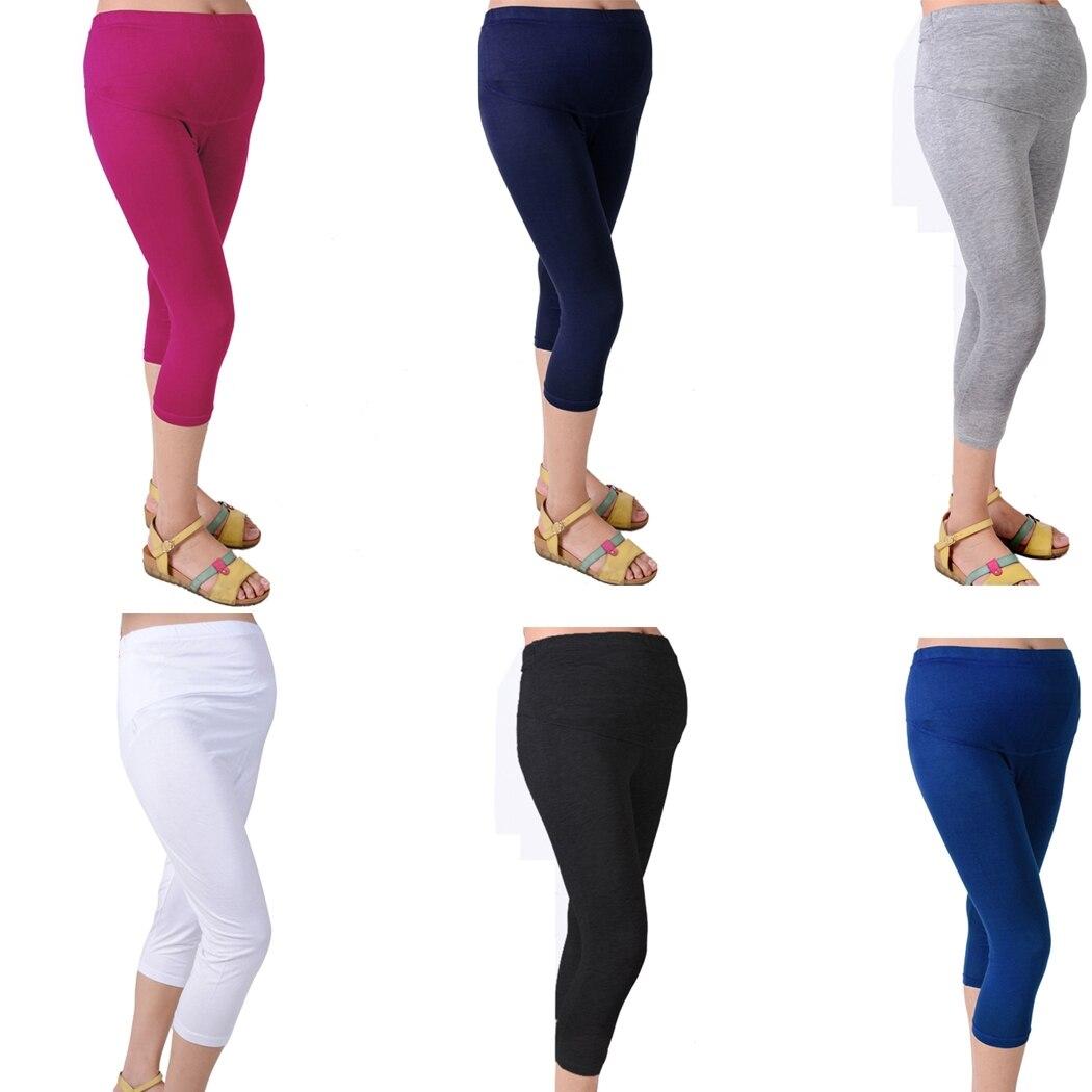 a2c2b48477945 Solid Comfortable Hot Pregnant Women Fashion Cotton Summer Elastic Leggings  Maternity Capris 7 Pant New