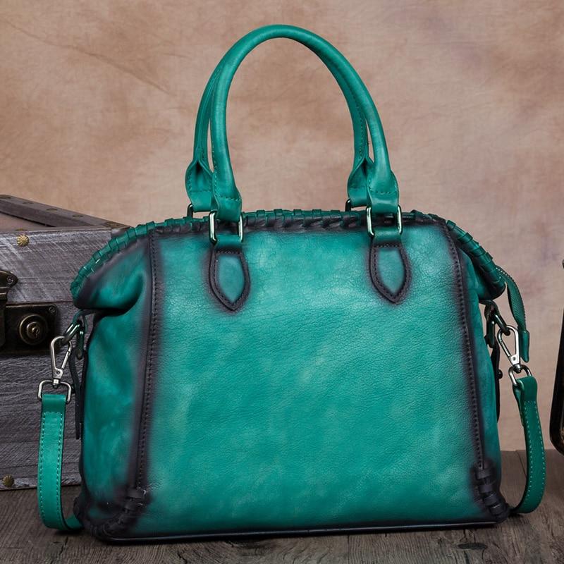 Vintage Elegant Women Bag Handmade Genuine Leather Shoulder Bag Female Street Leisure Messenger Bag Large Capacity