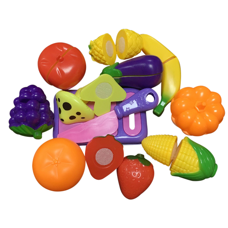 12Pcs/set Fruit Vegetable Pretend Play Kitchen Toys For Children DIY Party Food Educational Toy High Quality Plastic Kids Gift