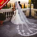 Real photos 3 M velo de novia Lace Appliques Purfles Long White/Ivory Tulle Cathedral Wedding Veils Bridal Mantilla with Comb