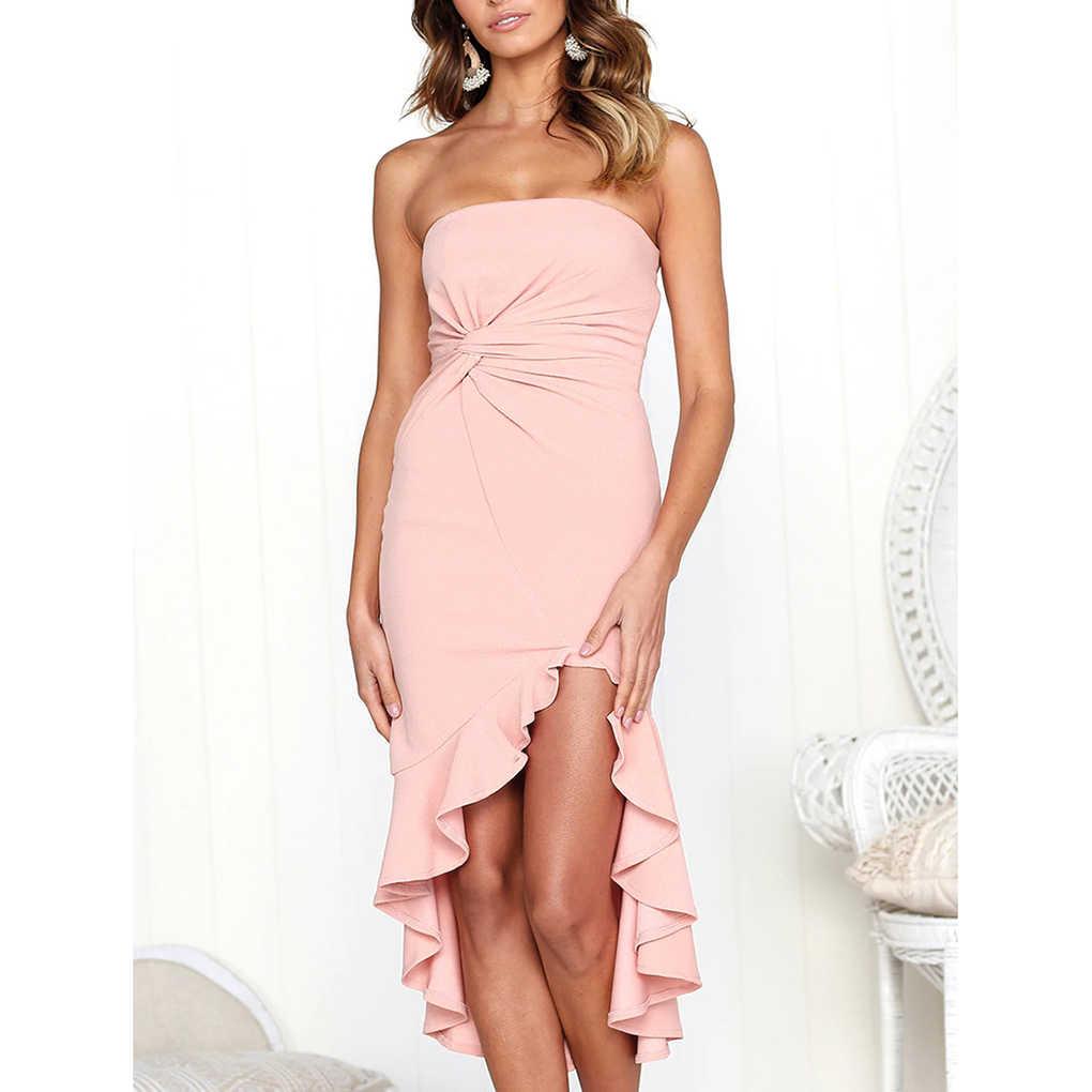 Femmes Sexy bretelles couleur unie robe filles volant irrégulière Maxi robe