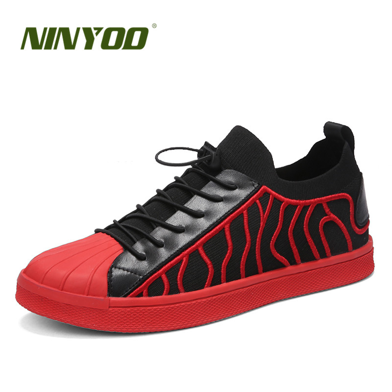 NINYOO New Shell Toe Fashion Men Casual Shoes NAPPA Leather&Fabric Flats Shoes Wearproof High Quality Breathable Students Shoes top brand high quality genuine leather casual men shoes cow suede comfortable loafers soft breathable shoes men flats warm