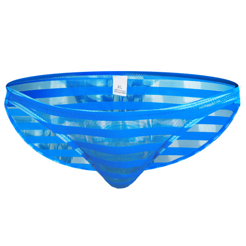 Nylon Silk Striped Mesh Briefs Bikini for Men Underwear Transparent Low rise Sexy Gay Brief Underpants Softy Sheer Thin briefs