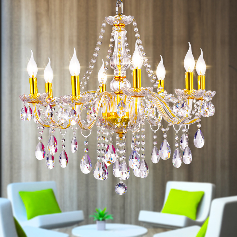 European crystal chandelier golden fashion crystal candle lamp modern K9 bedroom living room creative restaurant study lamps цена и фото