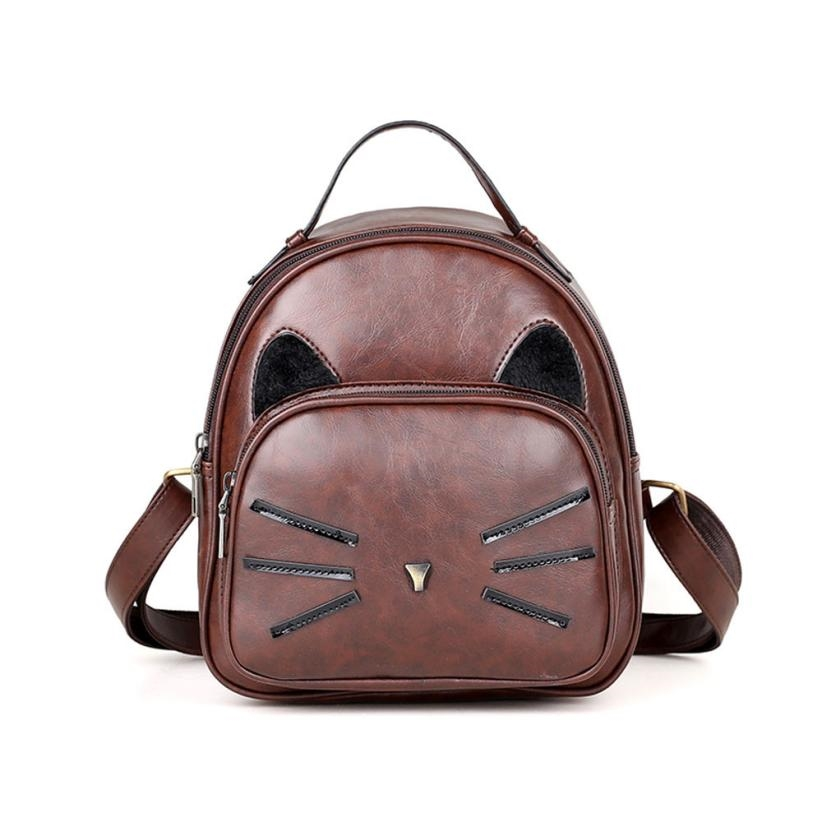 Women Girl Backpack Travel Rucksack Cute Cat Printed Ladies Casual Leather Shoulder School Bags Mochila Backpacks for women