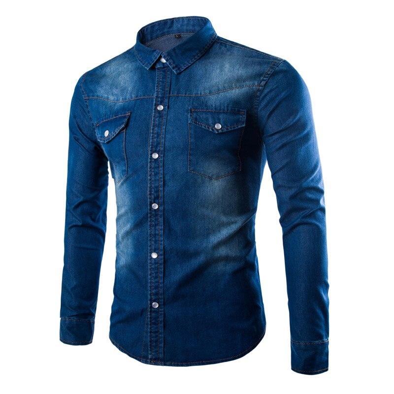 Aliexpress.com  Buy Free Shipping 2016 autumn Wear Men Jeans Shirt Denim Jeans Wash Blue Long ...