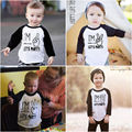 Newborn Kids Baby Boys Girls Clothes Tops Tees Cotton Long Sleeve T-shirt Letter Casual Clothing Girl