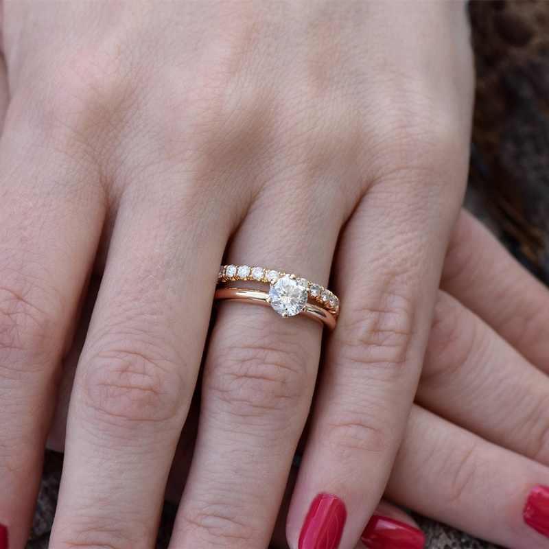 SHART di Modo DELLA CZ di Zircon di Cristallo Nuziale Anello Di Fidanzamento Set Delle Donne In Oro Rosa di Colore Anelli di Cerimonia Nuziale Dei Monili