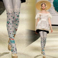 Pantyhose Retro Lace Stockings Suspenders Printing Thick Tights Primer