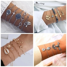 Bohemian 5Pcs/Set Cross Multilayer Bracelet Set Vintage Silver Color Heart Shape Fishtail Pendant Shell Bangle Jewelry