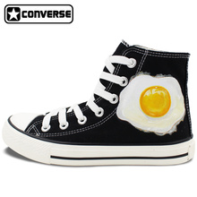 2016 New Shoes Original Design Poached Egg Converse All Star Hand Painted High Top Canvas Sneakers Men Women Christmas Gifts