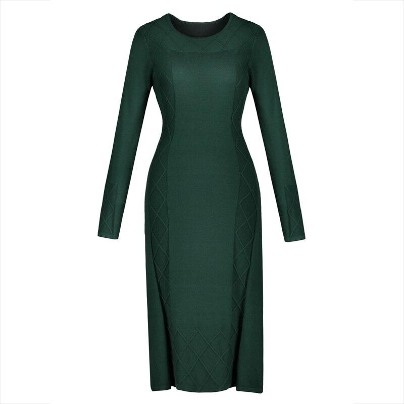 Winter Women Sweater Dress Long Sleeve Green Straight Free Size Casual Dress Autumn Lades Office Elegant