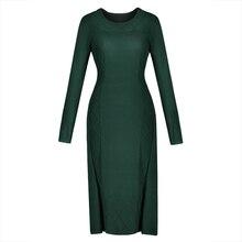 Зимние Для женщин Платья-свитеры с длинным рукавом зеленый прямо бесплатная Размеры повседневные платья осень Lades Офис Элегантный Винтаж вязаное платье