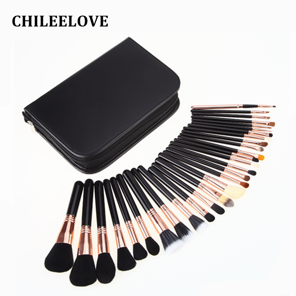 CHILEELOVE 29 Pcs Upscale High Quality Makeup Brushes Professional Face Lip Cosmetic Brush Set Goat + Horse + Synthetic Hair anmor high quality 26 pcs professional makeup brush set goat hair cosmetic brush set with brush bag bz002