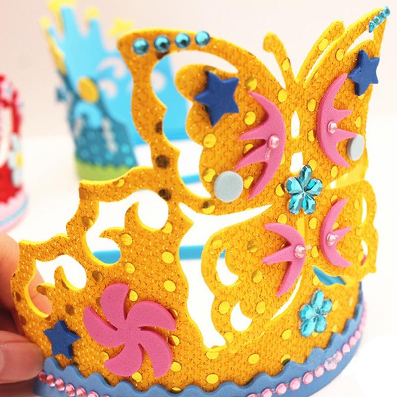 1pcs Creative EVA Cartoon Crown With Flowers Stars Patterns Kindergarten DIY Art Craft Toys For Children Girls Party Decoration