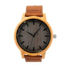 Hot 2016 Moda Único Mens Relojes de Cuarzo Deporte Al Aire Libre Relojes De Madera Reloj Con Correa de Cuero Relojes Hombre