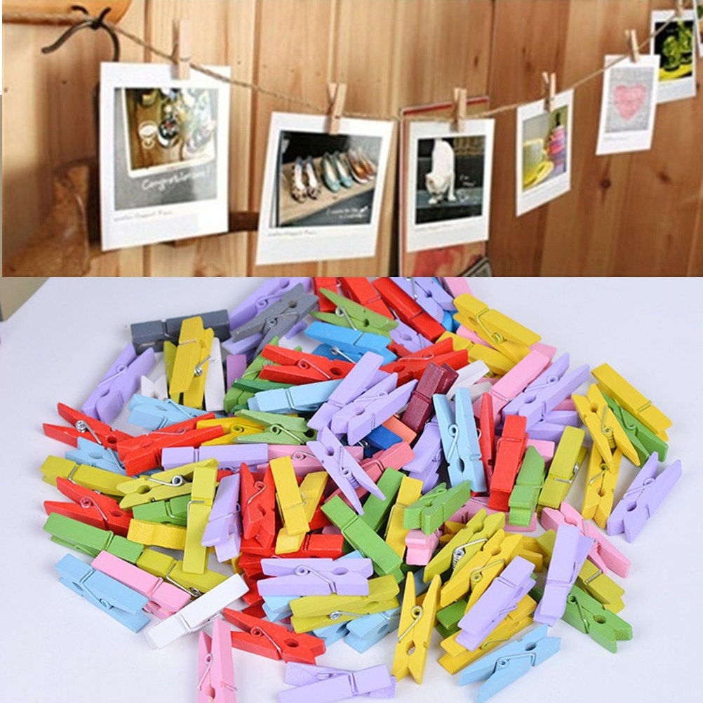 50 PCS Natural Colorful Mini Colored Spring Wood Clips Clothes Photo Paper Peg Pin Clothespin Craft Clips Party Decoration