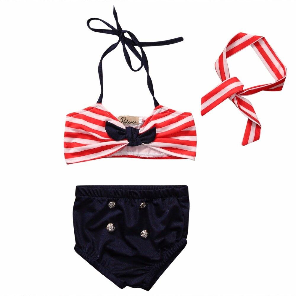 3pcsBaby Clothing Summer Newborn Infant Baby Girls Stripe Tops Shorts Headband Swimwear  ...