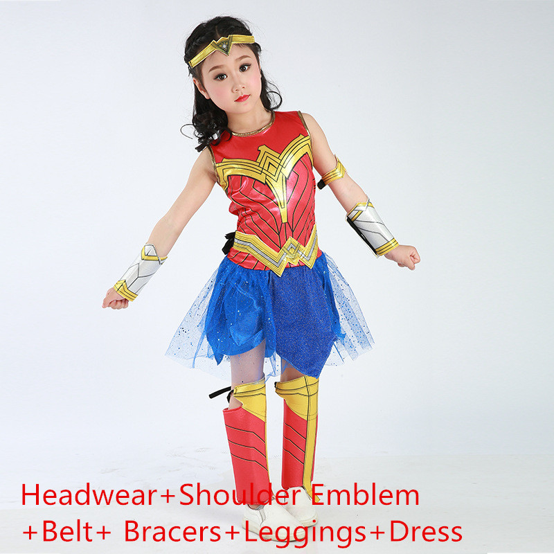 Princess Diana Prince Wonder Woman Cosplay Costumes Super Heroes Headwear Shoulder Emblem Belt Bracers Leggings Dress