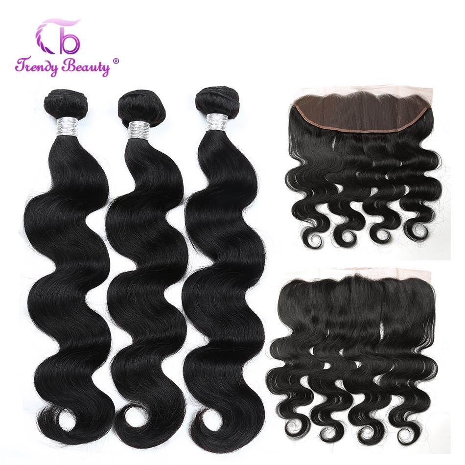 4pcs/lot Brazilian Body Wave Human Hair 3 Bundles With 13x4 Ear To Ear Lace Frontal Closure Non Remy Free Ship Trendy Beauty