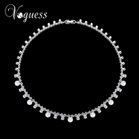 VOGUESS New Luxury Women Imitation Pearl Statement Necklace Choker Collar Lady Fashion Cz Wedding Jewelry Accessories
