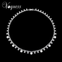 VOGUESS New Luxury Women Imitation Pearl Statement Necklace Choker Collar Lady Fashion Cz Wedding Jewelry Accessories