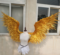 EMS free shipping red Gold large wings feathers T stage model catwalk shows wings props party performance shows props cosplay
