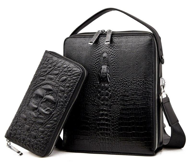 2 Set New Brand PU Leather Business Men Bags Fashion Male Messenger Bags Men's Small Briefcase vintage Casual Shoulder Handbag